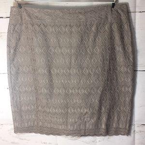 Ann Taylor Womens skirt eyelet pencil Cotton Tan